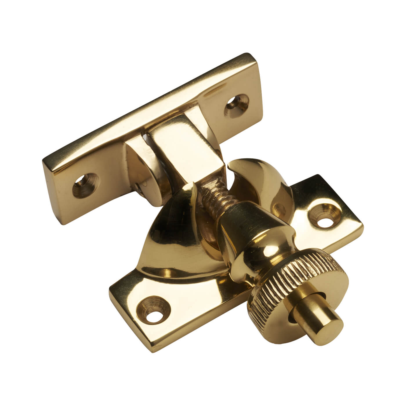Brighton Screw Pattern Sash Fastener - 55mm - Polished Brass)