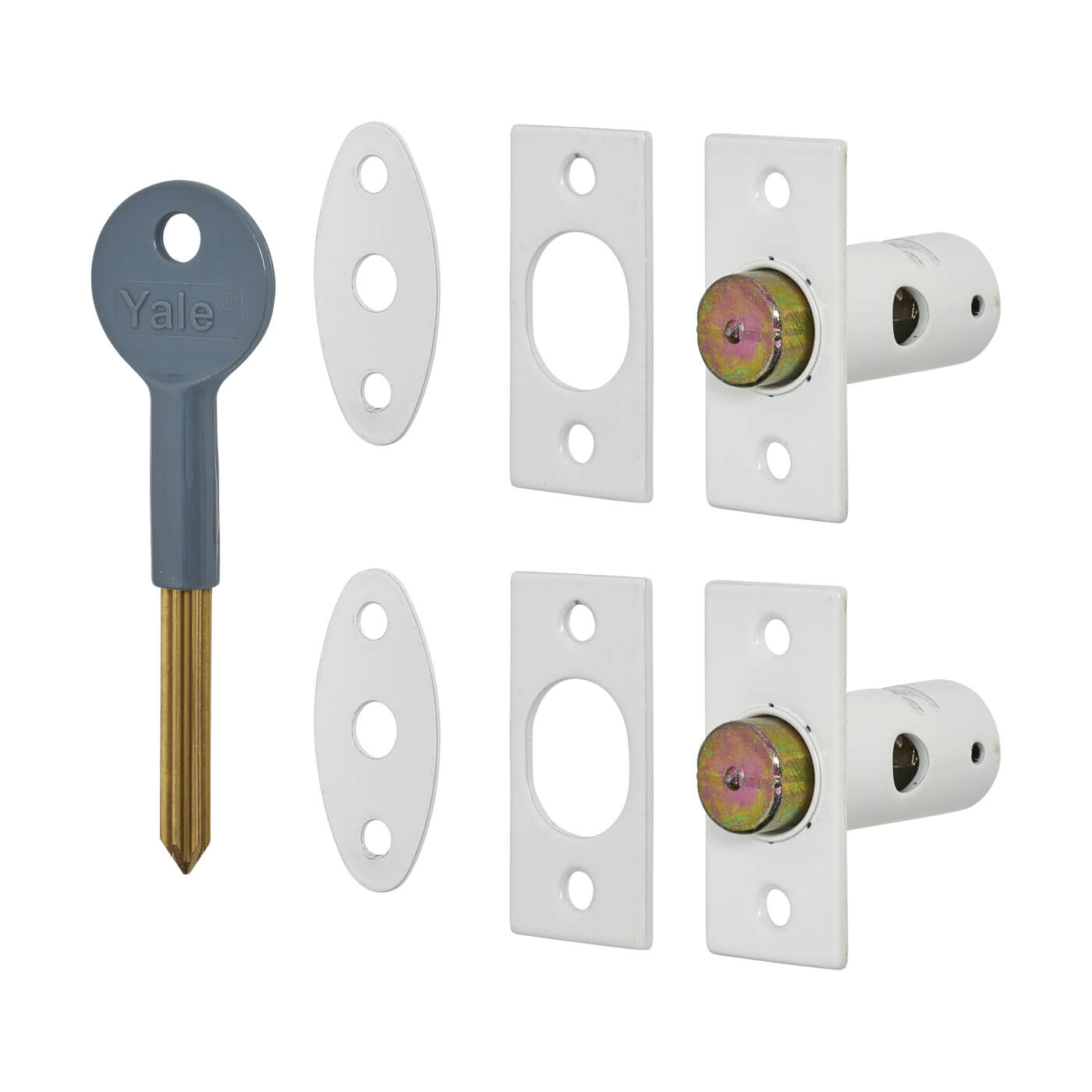 Yale® 8001 Wooden Window Bolt - Pack of 2 with 1 Key - White)
