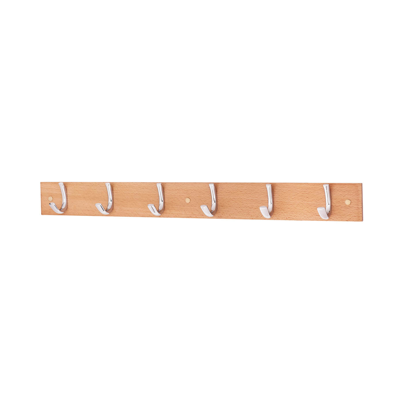Coat Hook / Robe Hook Rail - 6 Hook - Wooden Board with Polished Chrome Hooks)