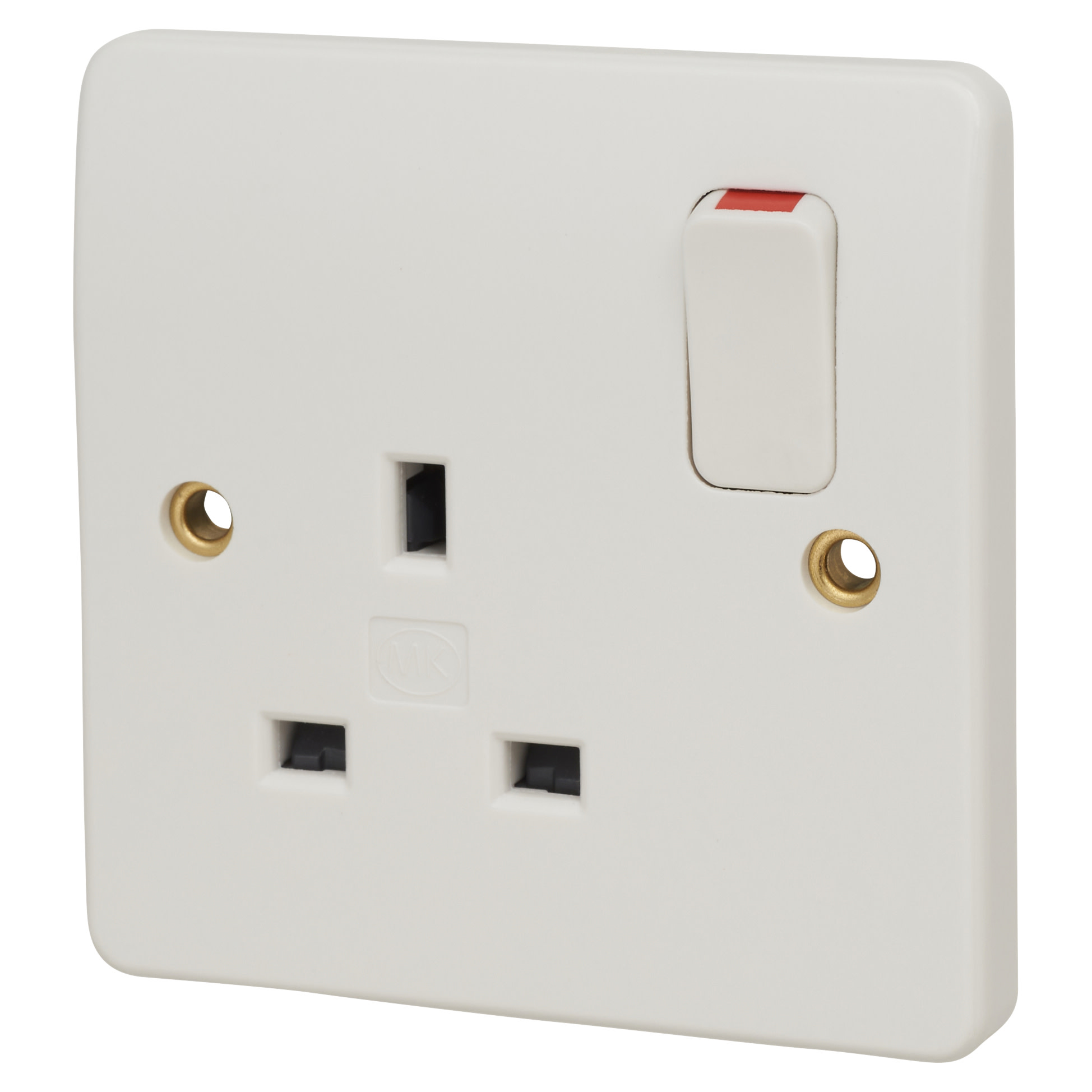 MK Logic Plus 13A 1 Gang Double Pole Switched Socket - White)