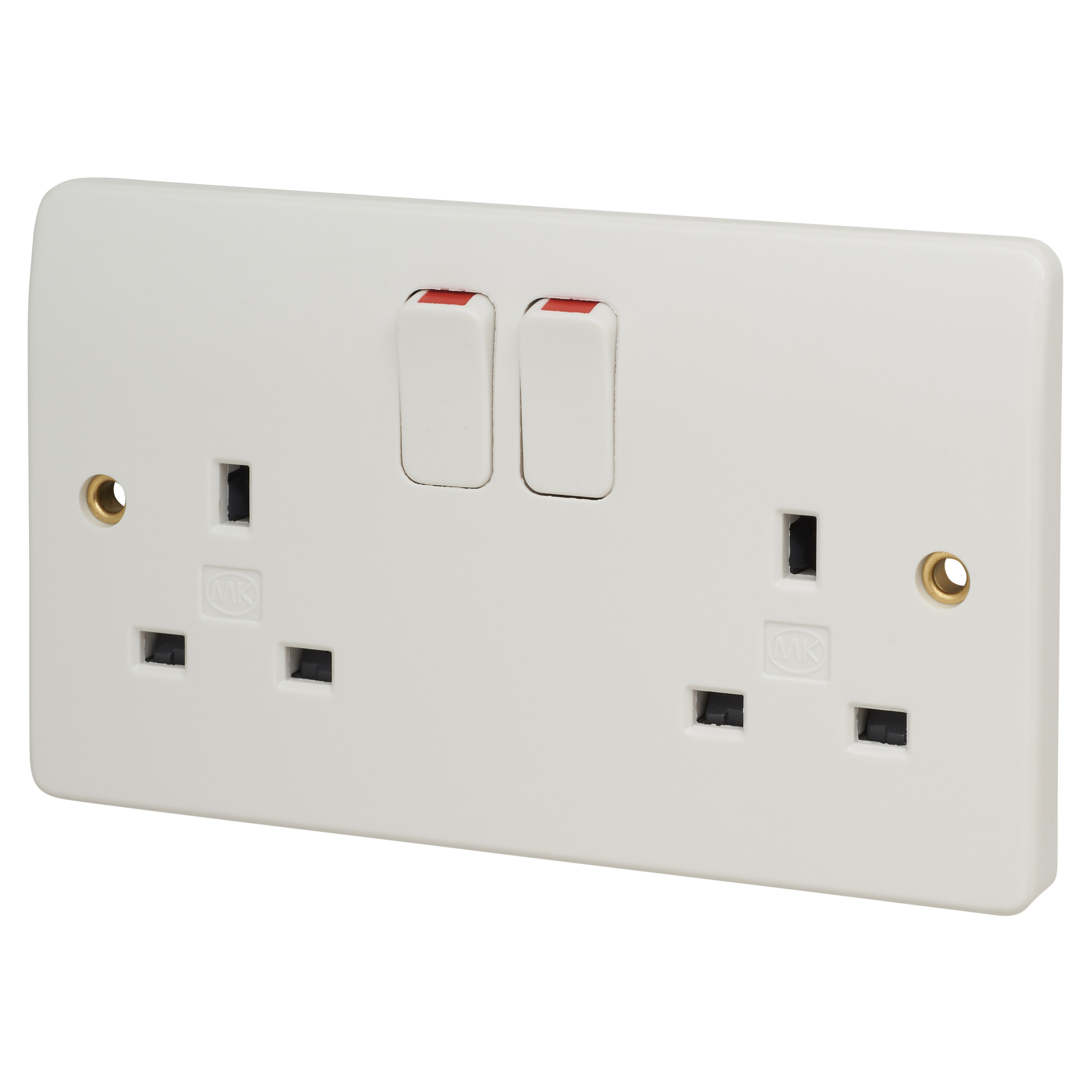 MK Logic Plus 13A 2 Gang Double Pole Switched Socket - White)