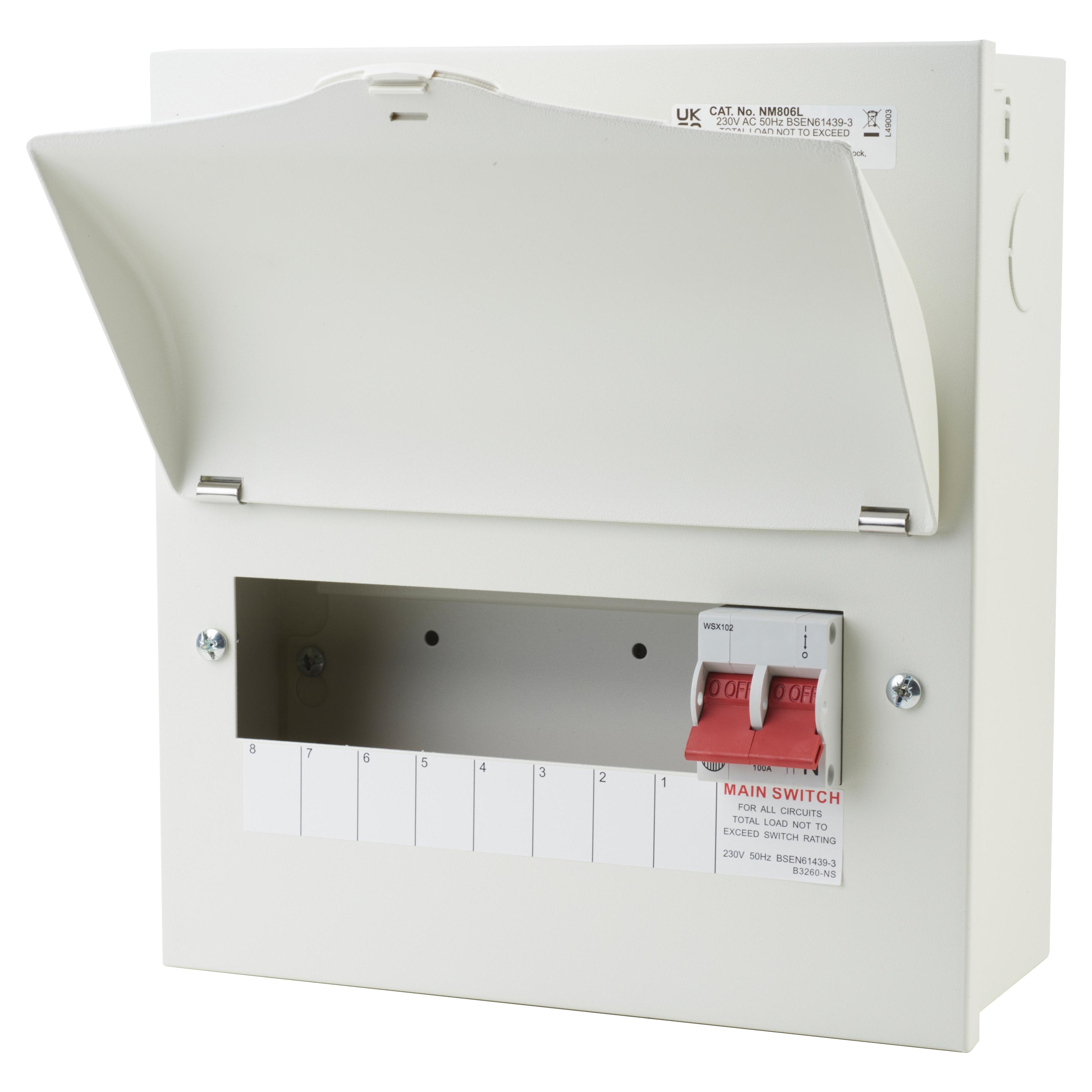 Wylex 8 Way 100A Main Switch Metal Consumer Unit - Amendment 3)