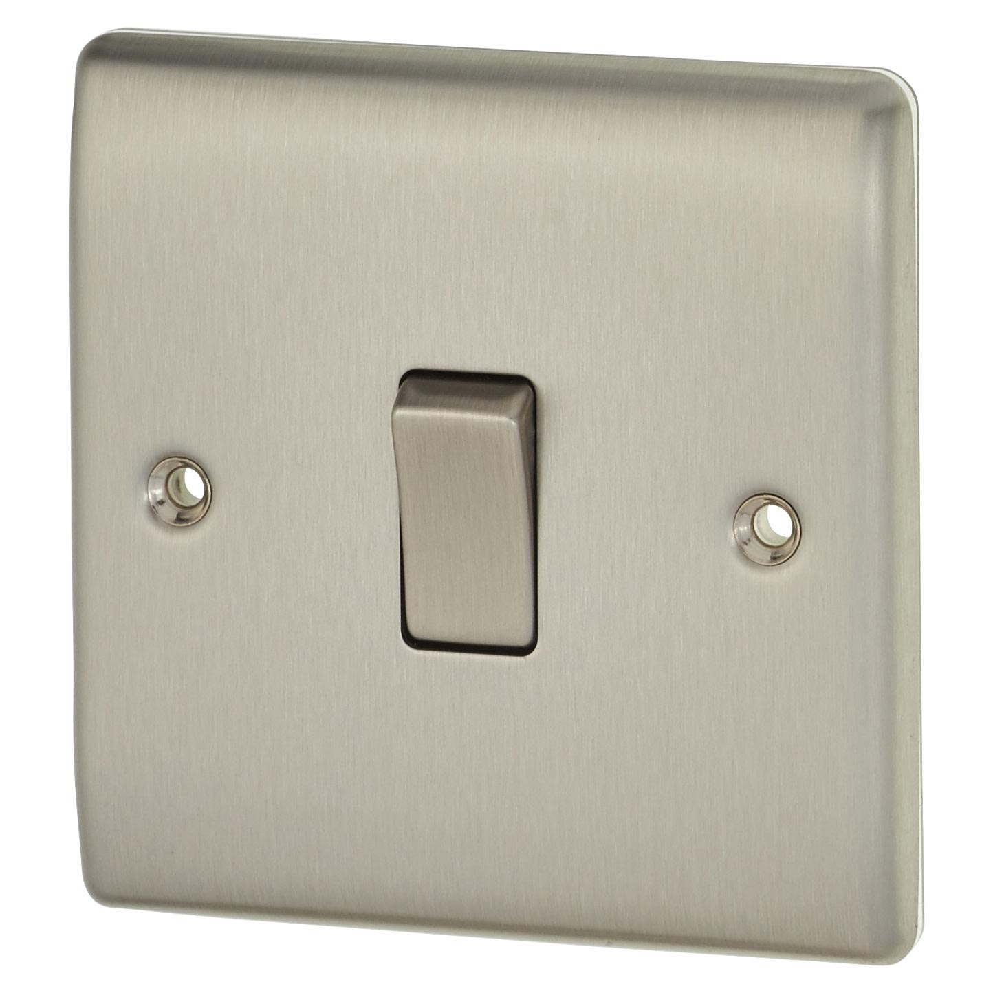 BG 10A 1 Gang 2 Way Single Pole Light Switch - Brushed Steel)
