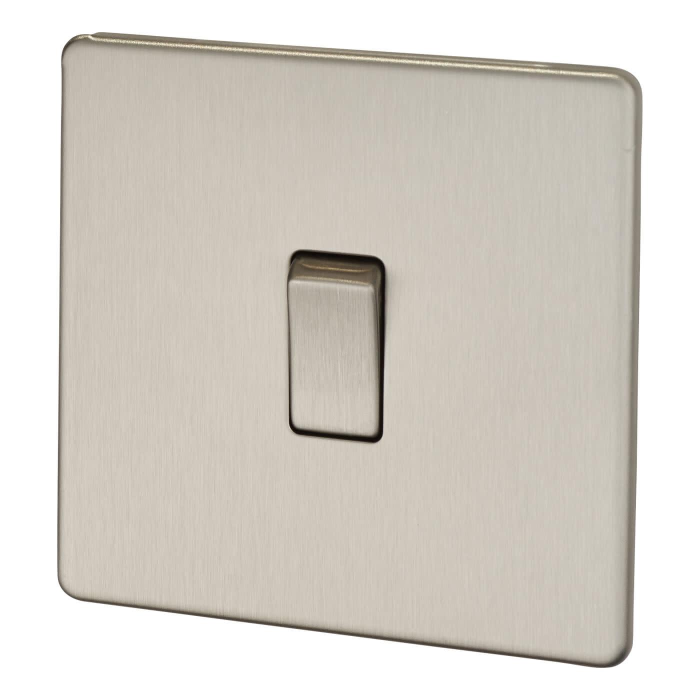 BG 10A Screwless Flatplate Intermediate Switch - Brushed Steel)