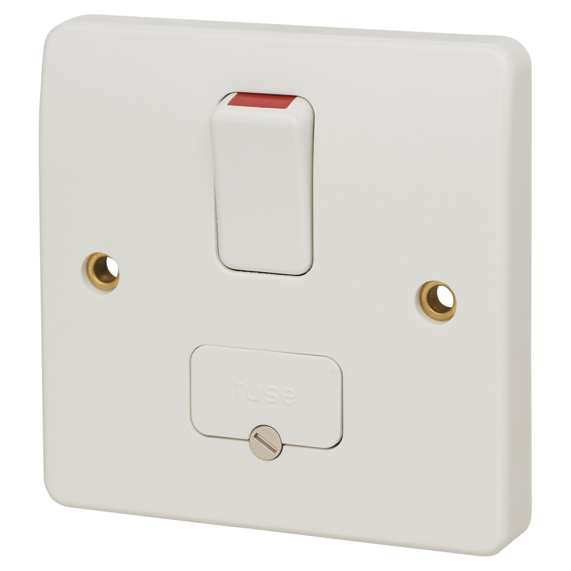 MK Logic Plus 13A 1 Gang Double Pole Switched Fused Spur with Base Flex Output - White)