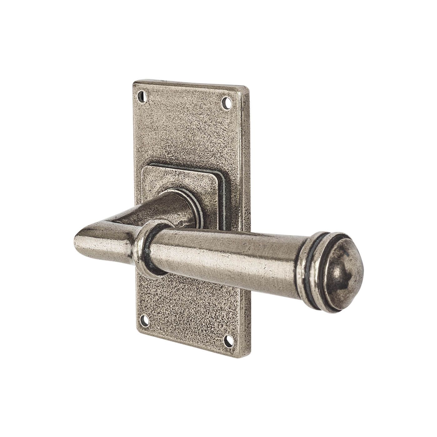 Finesse Durham Door Handle on Jesmond Plate - Latch Set - Pewter)