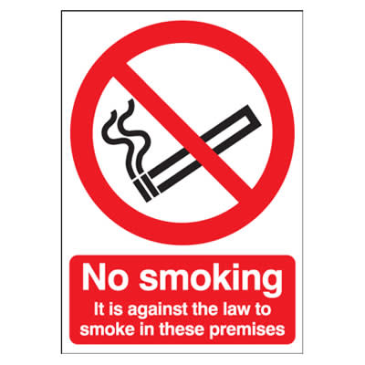 No Smoking It Is Against The Law To Smoke - 210 x 148mm - Self Adhesive Plastic)