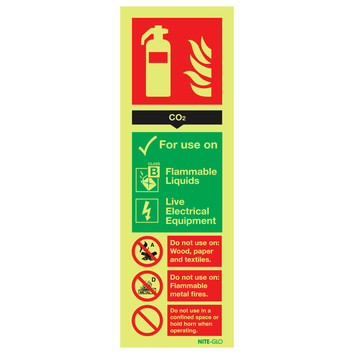NITE-GLO CO2 Extinguisher - 300 x 100mm)