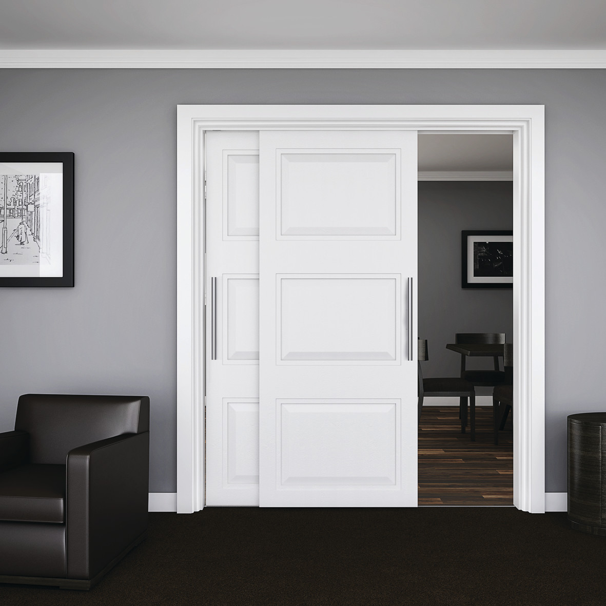 KLÜG Double Wardrobe Top Sliding Door Track and Channel Pack - 3000mm - 45kg)