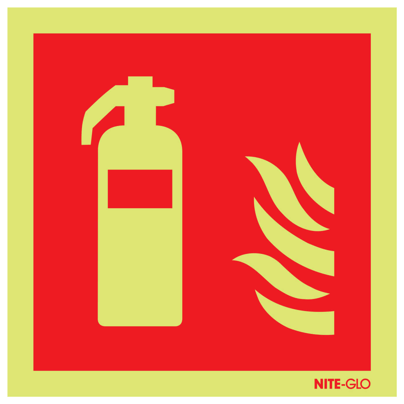 NITE-GLO Fire Extinguisher Symbol - 200 x 200mm)
