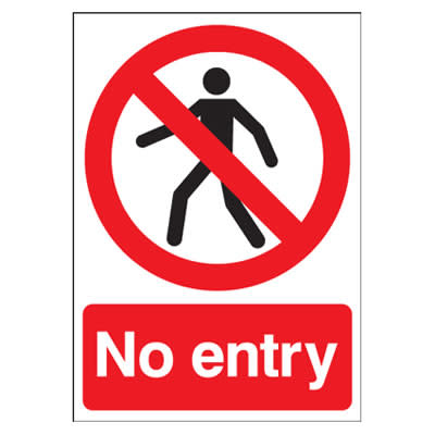No Entry - 420 x 297mm - Rigid Plastic)