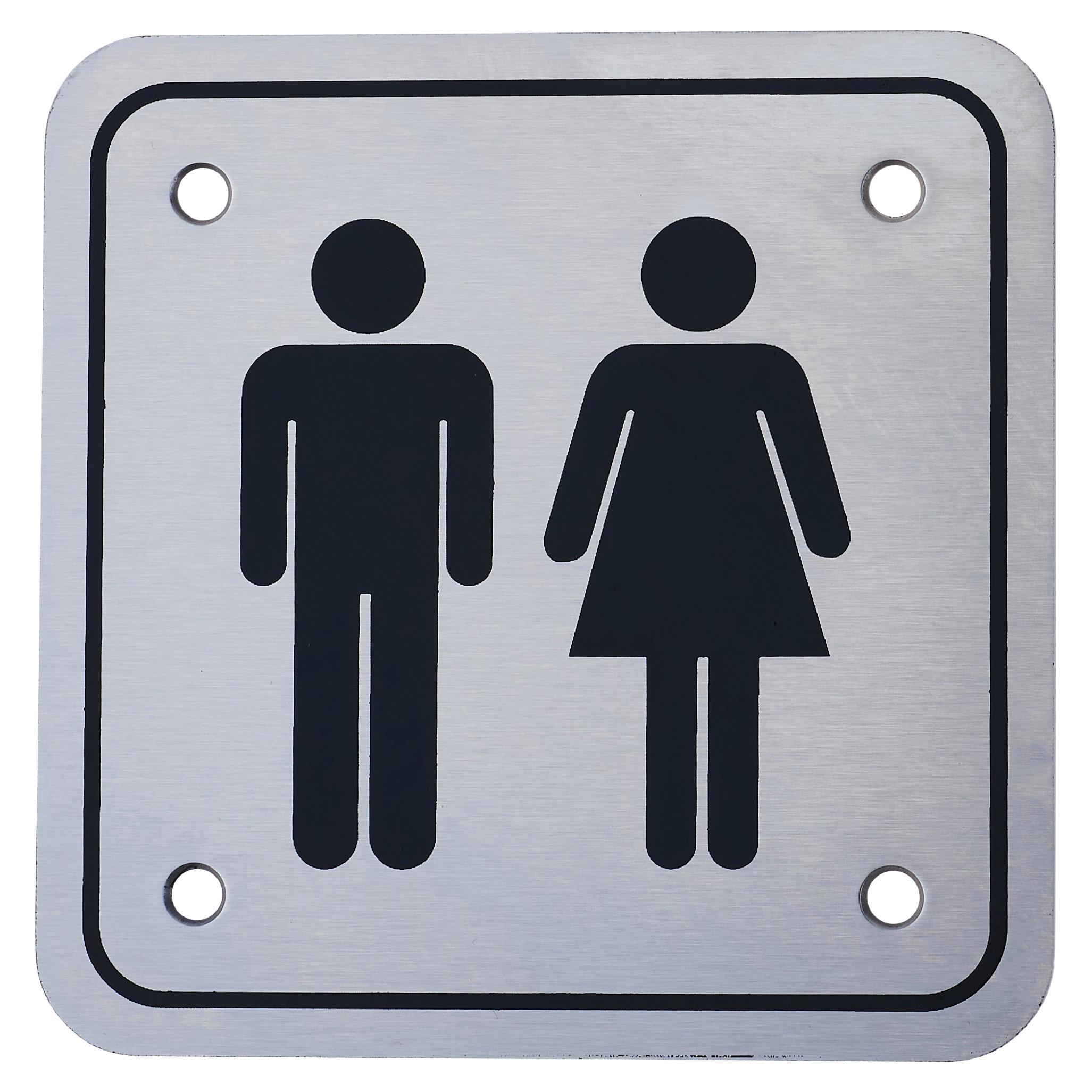 Unisex Square Toilet Door Sign - 100 x 100mm - Satin Stainless Steel)