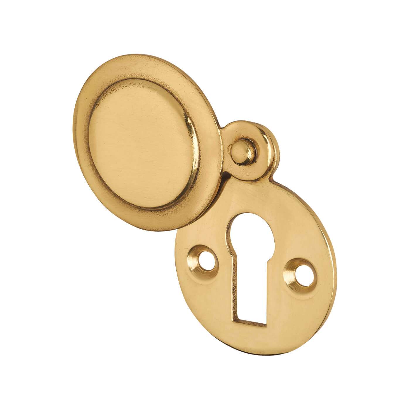 Victorian Covered Escutcheon - Keyhole - Polished Brass)