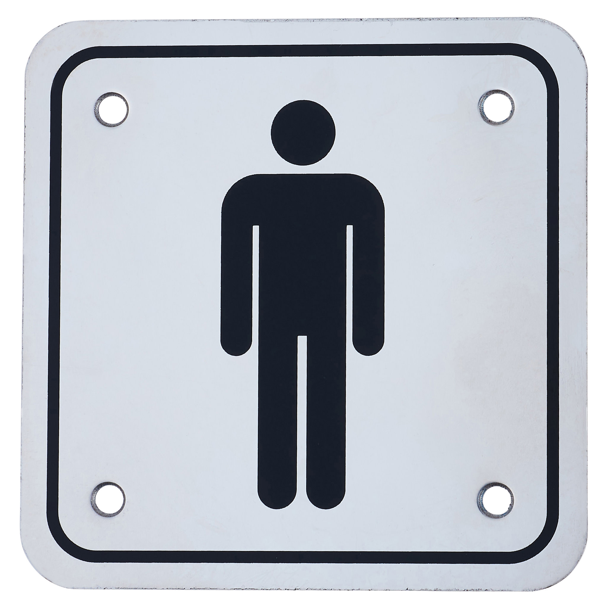 Mens Square Toilet Door Sign - 100 x 100mm - Polished Stainless)