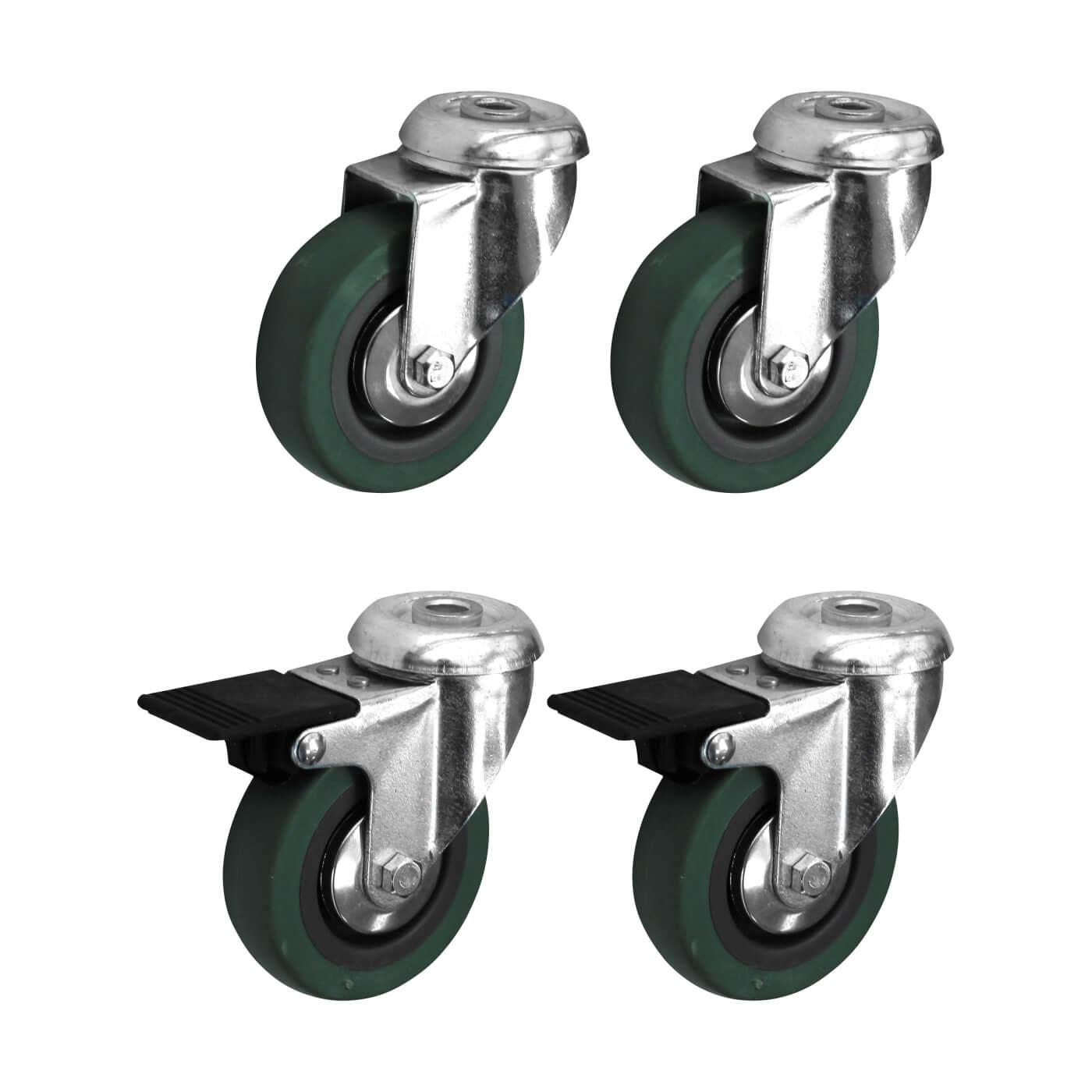Coldene Castor Pack - 2 x Bolt Hole, 2 x Bolt Hole with Brake - 90kg Maximum Weight - Grey)
