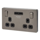 BG 13A Flatplate Socket with 2 x USB - 3.1A - Black Nickel with Black Insert)