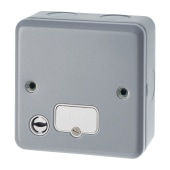 MK 13A 1 Gang Metalclad Unswitched Connection Unit with Flex Outlet - Grey)