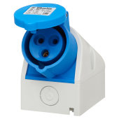 Cee Norm 16A 2 Pin and Earth Surface Socket - Blue)