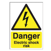 Danger Electric Shock Risk - 420 x 297mm - Rigid Plastic)