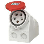 Cee Norm 32A 4 Pin and Earth Surface Socket - Red)