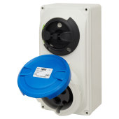 KES 32A 2 Pin and Earth Surface Socket and Isolator - Blue)