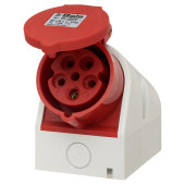 Cee Norm 16A 4 Pin and Earth Surface Socket - Red)