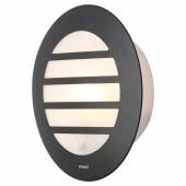 Stanley Round Bulkhead Light with PIR - Black)