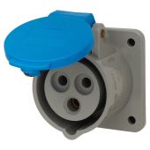 Lewden 16A 2 Pin and Earth Panel Socket - Blue)