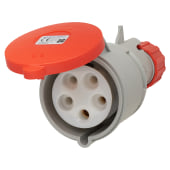 Lewden 32A 4 Pin and Earth Trailing Socket - Red)