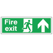 Double Sided Fire Exit Sign - Up - 450 x 150mm - Rigid Plastic)