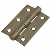 Twin Ball Bearing Hinge - 75 x 50 x 2mm - Antique Brass Plated - Pair)