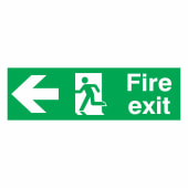 Fire Exit Left - 150 x 450mm - Rigid Plastic)