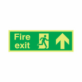 NITE-GLO Fire Exit Running Man - Arrow Up - 150 x 450mm)