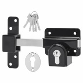 Locking Long Throw Gate Lock - 50mm - Double Euro Cylinder - 316 Stainless Steel )