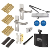Medium Duty Lever on Backplate Fire Door Kit with Hold Open Device - Stainless Steel)