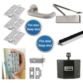 Heavy Duty Lever on Rose Fire Door Kit with Hold Open Device - Latch - Stainless Steel)