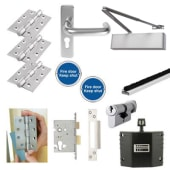 Heavy Duty Lever on Backplate Fire Door Kit with Hold Open Device - Aluminium)