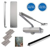 Light Duty Pull Handle Fire Door Kit - Aluminium)