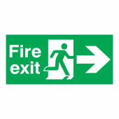 Fire Exit Right - 150 x 450mm - Rigid Plastic)