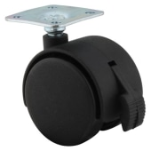 ION Mini Twin Wheel Castor - With Brake - 40mm Wheel Diameter - Pack 4)