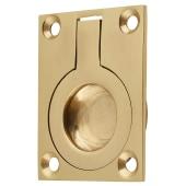 Rectangular Flush Ring Pull - 50 x 38mm - Polished Brass)