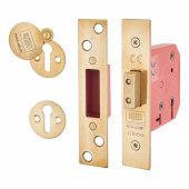 UNION® 2101 5 Lever Deadlock - Keyed Alike - 65mm - 44.5mm Backset - Brass)