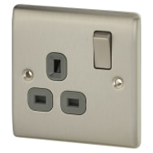BG Nexus 13A 1 Gang Switched Socket - Brushed Steel with Grey Insert)