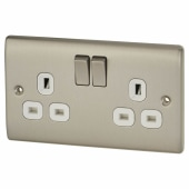 BG 13A 2 Gang Switched Socket  - Brushed Steel with White Insert)