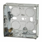 1 Gang Flush Back Box with Knockout - 25mm - Galvanised)