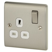 BG 13A 1 Gang Double Pole Switched Socket - Brushed Steel with White Insert)