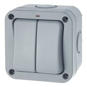 BG 20A IP66 2 Gang 2 Way Outdoor Switch - Grey)