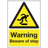 Warning Beware Of The Step - 210 x 148mm)