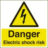 Danger Electric Shock Risk - 150 x 150mm)