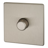 BG Screwless Flatplate 400W 1 Gang 2 Way Dimmer Switch - Brushed Steel )